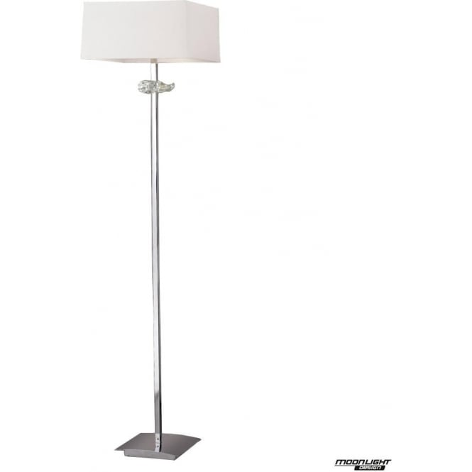 Mantra Akira 3 Light Floor Lamp with Cream Shade Polished Chrome
