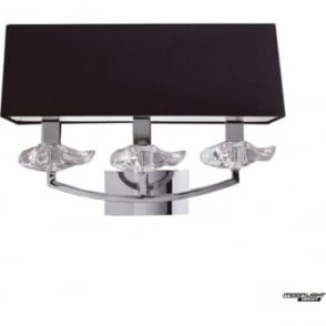 Akira 3 Light Wall Fitting Switched with Black Shade Polished Chrome