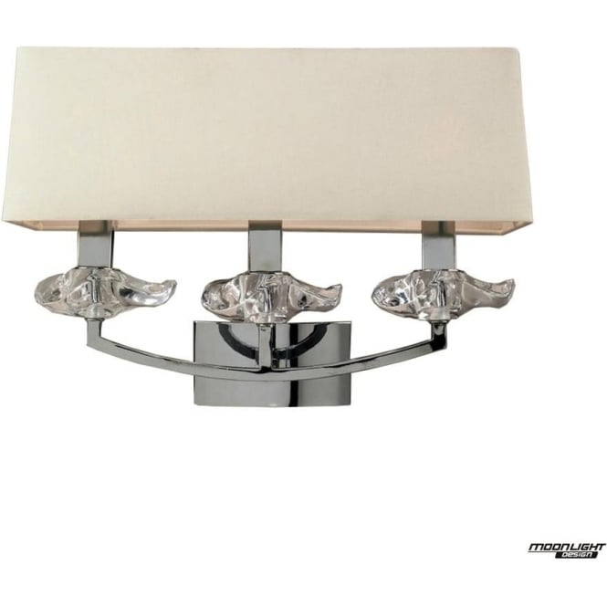 Mantra Akira 3 Light Wall Fitting Switched with Cream Shade Polished Chrome