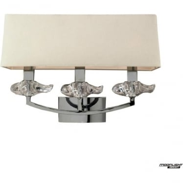 Akira 3 Light Wall Fitting Switched with Cream Shade Polished Chrome