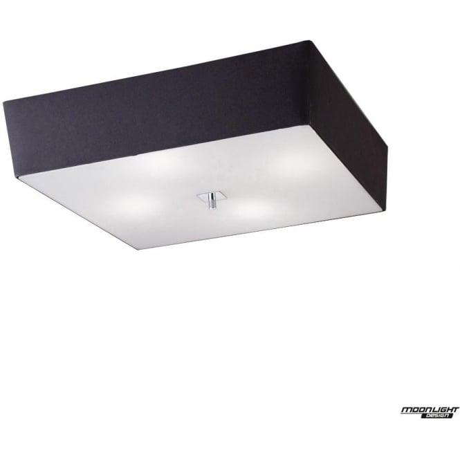 Mantra Akira 4 Light ceiling fitting with Black Shade Polished Chrome