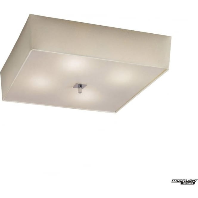 Mantra Akira 4 Light ceiling fitting with Cream Shade Polished Chrome