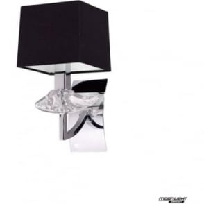 Akira Single Wall Light with Black Shade Polished Chrome