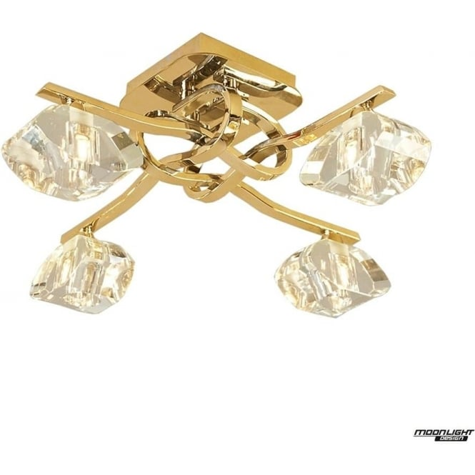 Mantra Alfa 4 Light Ceiling Fitting French Gold