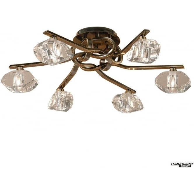 Mantra Alfa 6 Light Ceiling Fitting Antique Brass