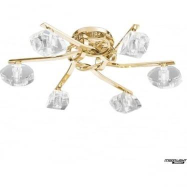 Alfa 6 Light Ceiling Fitting French Gold