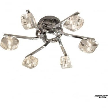 Alfa 6 Light Ceiling Fitting Polished Chrome