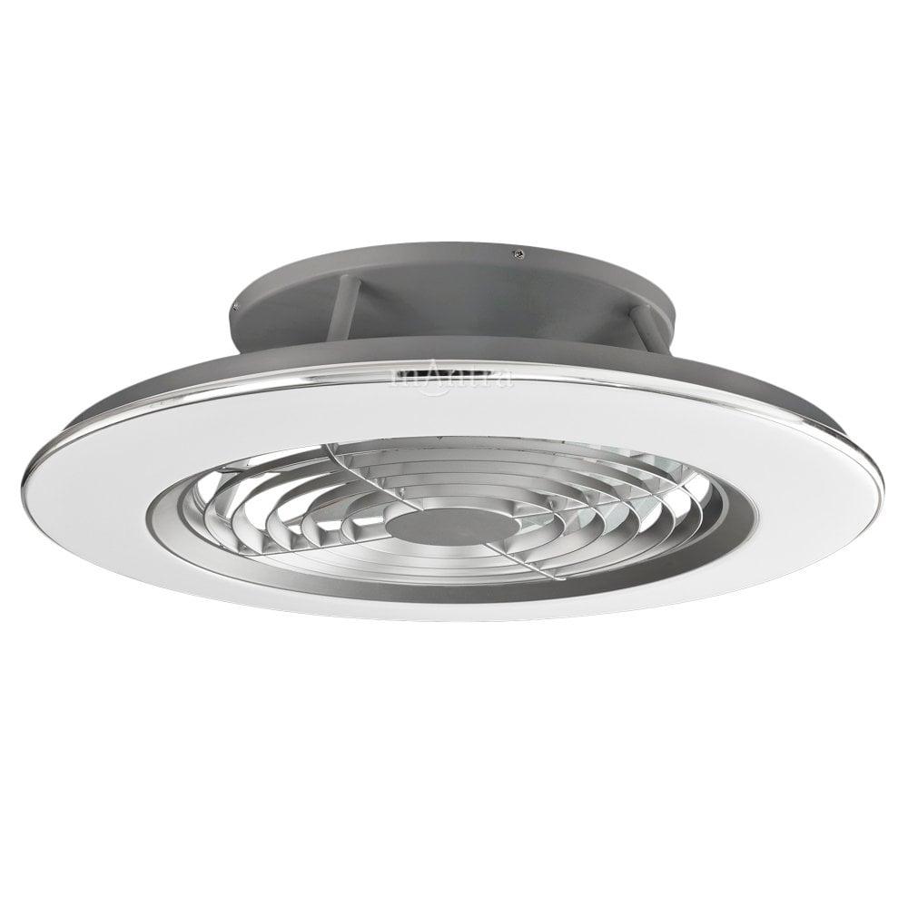 Alisio 70w Led Dimmable Ceiling Light With Fan Chrome Grey Moonlight Design