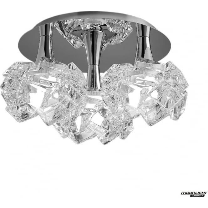 Mantra Artic 3 Light Ceiling Fitting Round Large Polished Chrome