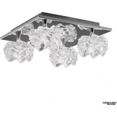 Artic 4 Light Ceiling Fitting Square Polished Chrome
