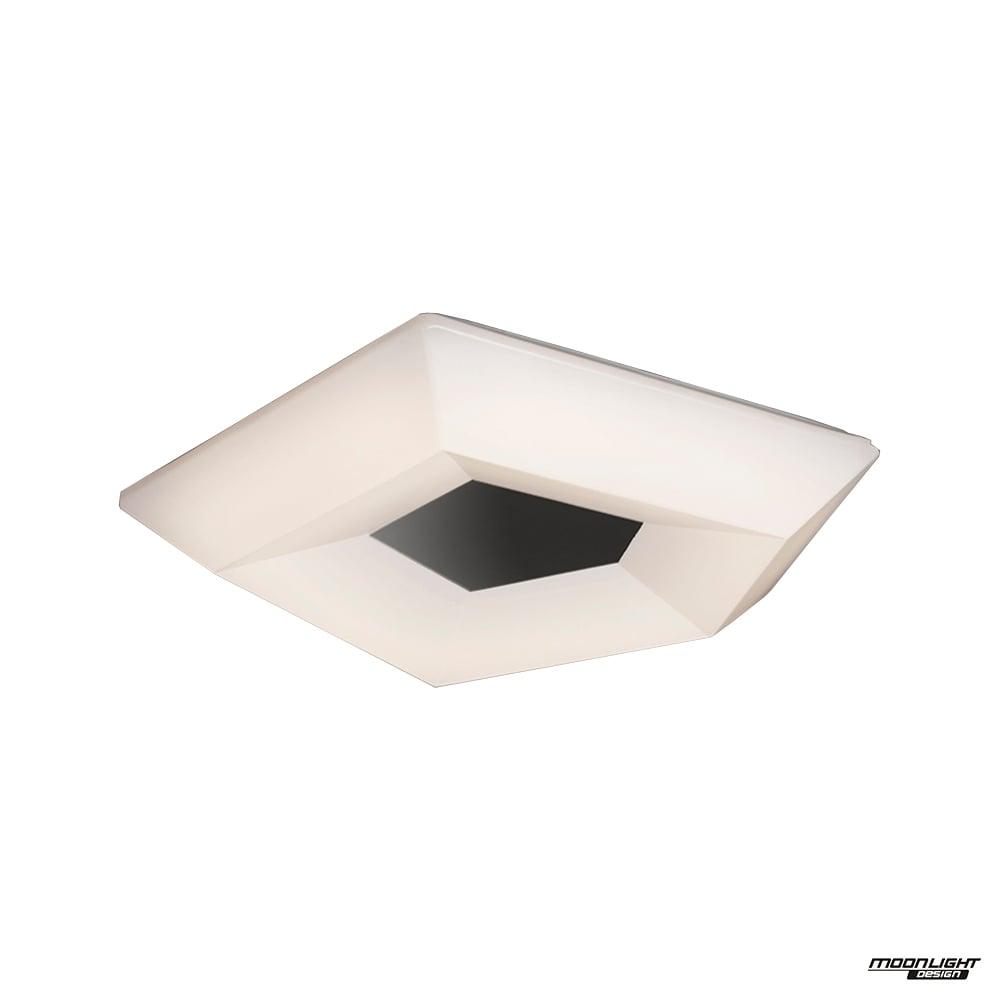 City Single Led Small Flush Ceiling Fitting In White Chrome