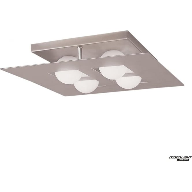 Mantra Cocoon 4 Light Flush Ceiling Fitting Square Silver