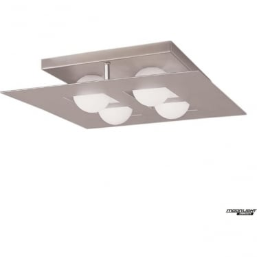 Cocoon 4 Light Flush Ceiling Fitting Square Silver