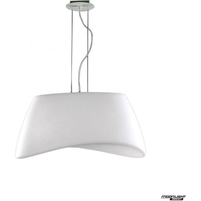 Mantra Cool 2 Light Oval Pendant Indoor/Outdoor in Chrome/White IP44