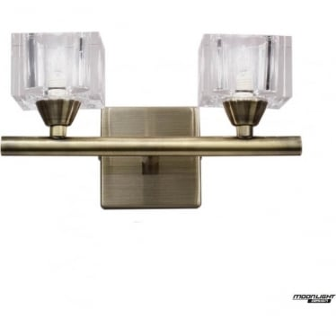 Cuadrax 2 Light Switched Wall Fitting Antique Brass