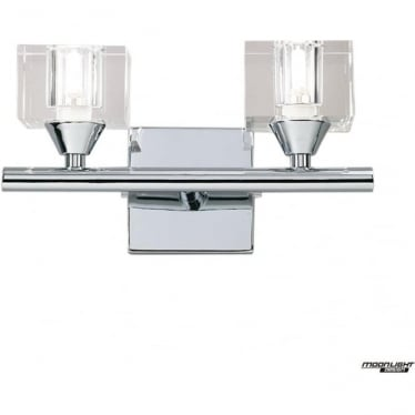 Cuadrax 2 Light Switched Wall Fitting Polished Chrome