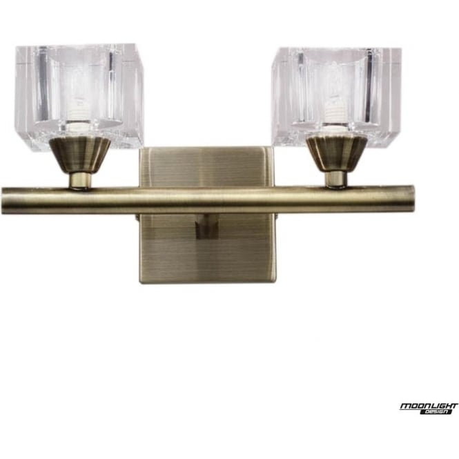 Mantra Cuadrax 2 Light Wall Fitting Antique Brass