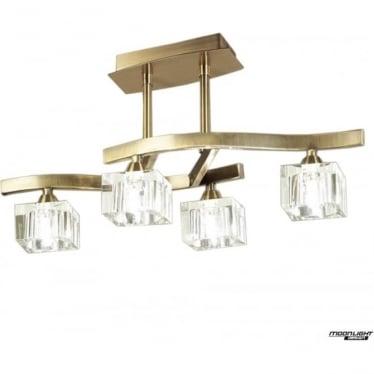 Cuadrax 4 Light Semi Flush Ceiling Fitting Antique Brass