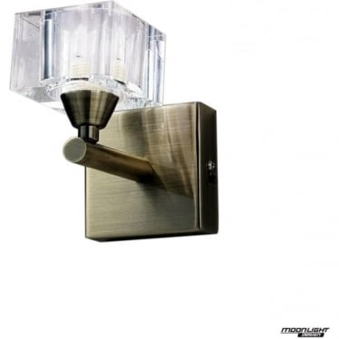 Cuadrax Single Light Switched Wall Fitting Antique Brass