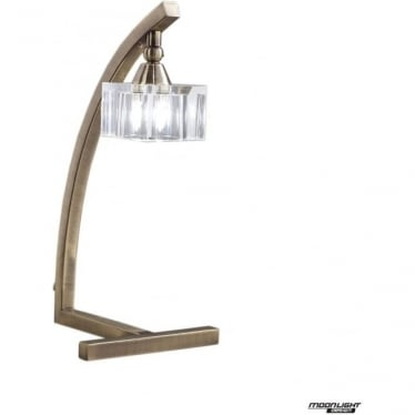 Cuadrax Single Light Table Lamp Antique Brass