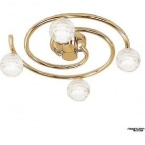 Dali 4 Light Flush Ceiling Fitting Round Polished Brass