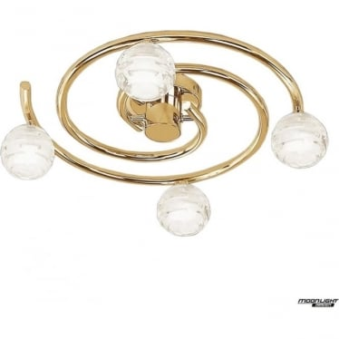 Dali 4 Light Flush Ceiling Fitting Round Polished Brass