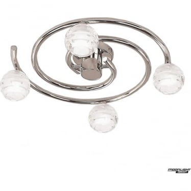 Dali 4 Light Flush Ceiling Fitting Round Polished Chrome