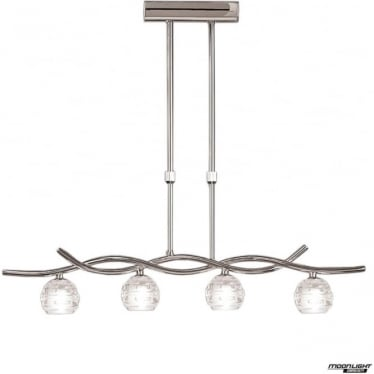 Dali 4 Light Telescopic Pendant Line Fitting Polished Chrome