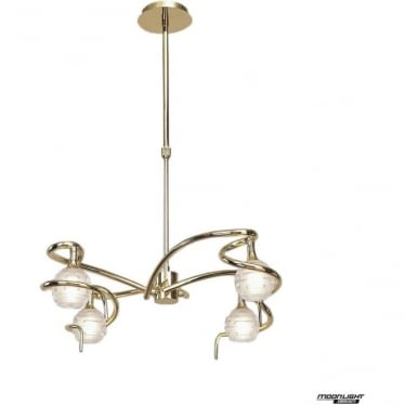 Dali 4 Light Telescopic Pendant Semi Flush Convertible Fitting Polished Brass