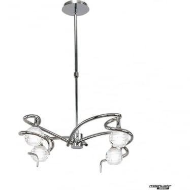 Dali 4 Light Telescopic Pendant Semi Flush Convertible Fitting Polished Chrome