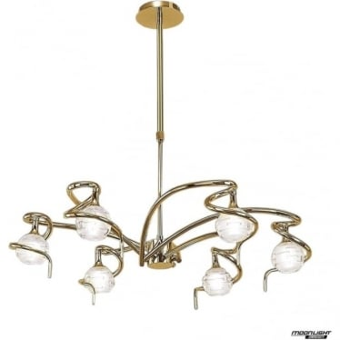 Dali 6 Light Telescopic Pendant Semi Flush Convertible Fitting Polished Brass