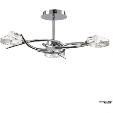 Eclipse 3 Light Semi Flush Ceiling Fitting Polished Chrome