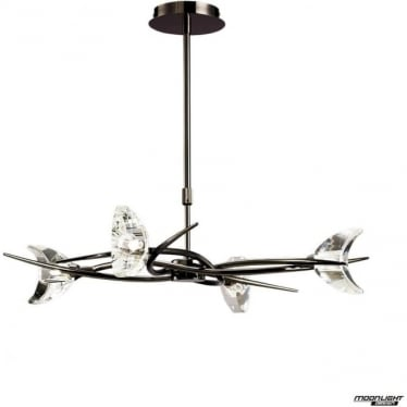 Eclipse 4 Light Telescopic Semi Flush Convertible Fitting Black Chrome