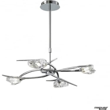 Eclipse 4 Light Telescopic Semi Flush Convertible Fitting Polished Chrome