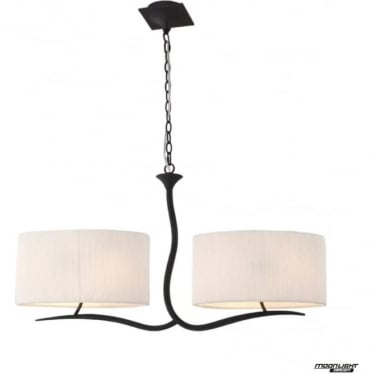 Eve 2 Arm 4 Light Pendant in Anthracite with White Oval Shades