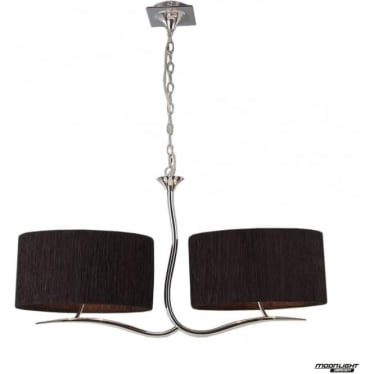 Eve 2 Arm 4 Light Pendant in Polished Chrome with Black Oval Shades