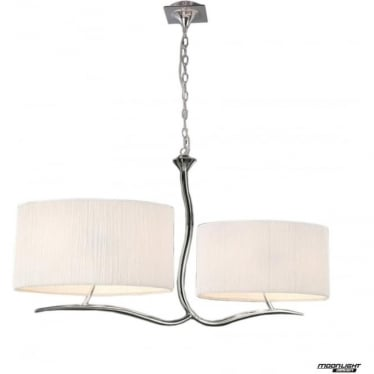 Eve 2 Arm 4 Light Pendant in Polished Chrome with White Oval Shades
