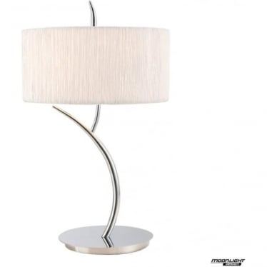 Eve 2 Light Large Table Lamp in Polished Chrome with White Round Shade