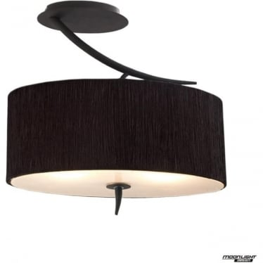 Eve 2 Light Semi Flush Ceiling fitting in Anthracite with Black Oval Shade
