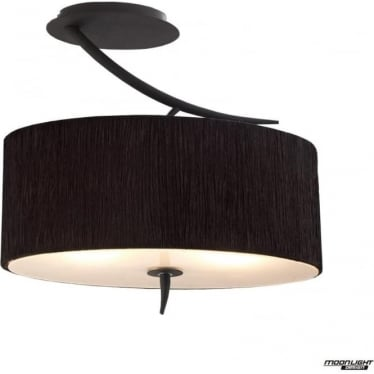 Eve 2 Light Semi Flush Ceiling Fitting in Anthracite with White Oval Shade
