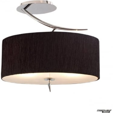 Eve 2 Light Semi Flush Ceiling Fitting in Polished Chrome with Black Oval Shade