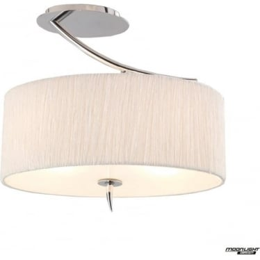 Eve 2 Light Semi Flush Ceiling Fitting in Polished Chrome with White Oval Shade