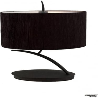 Eve 2 Light Small Table Lamp in Anthracite with Black Oval Shade