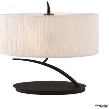 Eve 2 Light Small Table Lamp in Anthracite with White Oval Shade