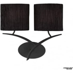 Eve 2 Light Switched Wall Fitting in Anthracite With Black Oval Shades