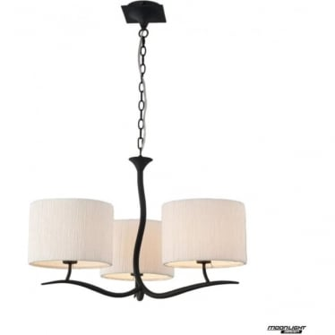 Eve 3 Arm 3 Light Pendant in Anthracite with White Round Shades