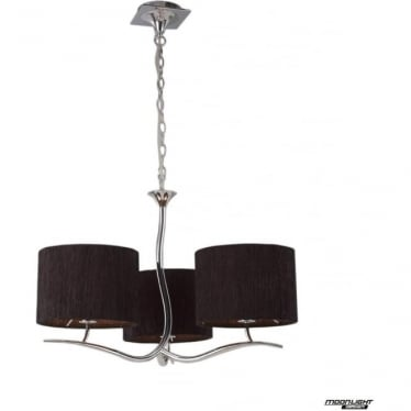 Eve 3 Arm 3 Light Pendant in Polished Chrome with Black Round Shades