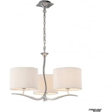 Eve 3 Arm 3 Light Pendant in Polished Chrome with White Round Shades