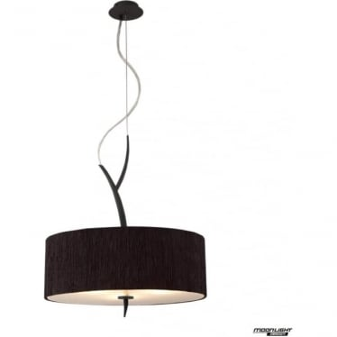 Eve 3 Light Pendant in Anthracite with Black Round Shade