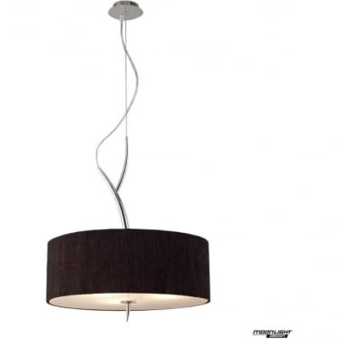 Eve 3 Light Pendant in Polished Chrome with Black Round Shade
